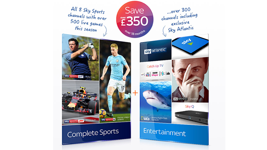 Sky Entertainment & Sky Sports. £40 a month + FREE upgrade to HD