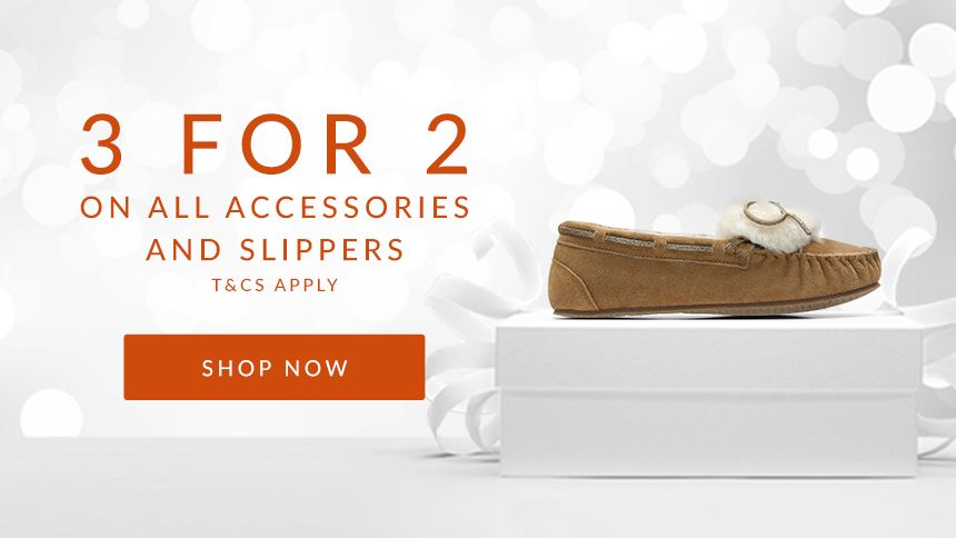 Clarks. 3 for 2 on all accessories & slippers