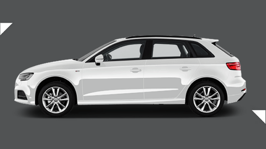 Audi A3 Sportback. £215  per month + 1,000 free excess miles¹ + FREE £75 fuel card*