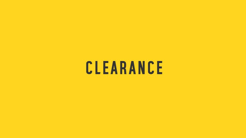 Clearance. Up to 50% off